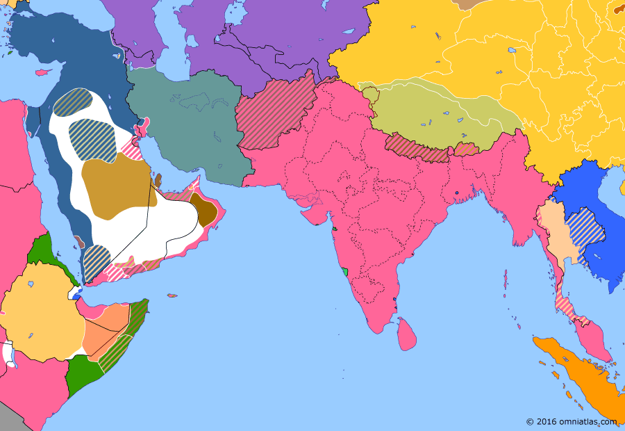 Political map of South & Southwest Asia on 28 Apr 1915 (The Great War in the Middle East: Gallipoli Campaign), showing the following events: 1915 Singapore Mutiny; Constantinople Agreement; Siege of Van; April 24 Armenian deportation; Allied landings at Gallipoli; Anglo-Idrisid Treaty.