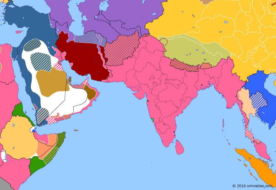 Political map of South & Southwest Asia on 22 Nov 1915 (The Great War in the Middle East: Persian Campaign), showing the following events: Bulgaria's entry into WWI; Russian advance on Tehran; Ahmad Shah capitulates to Allies; Battle of Ctesiphon.