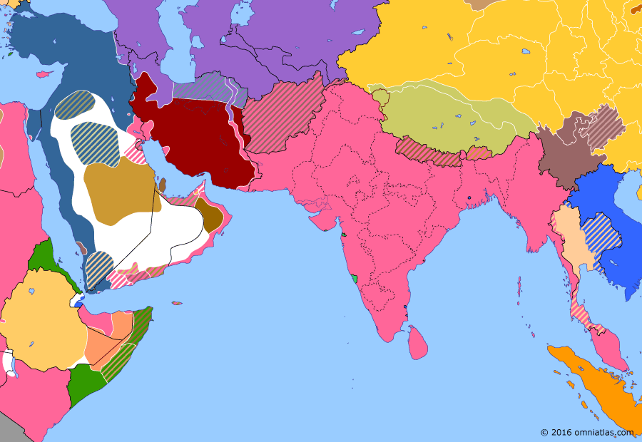 Political map of South & Southwest Asia on 05 Jan 1916 (The Great War in the Middle East: Siege of Kut), showing the following events: Provisional Government of India; Evacuation of Gallipoli; Siege of Kut; Hongxian Emperor; Treaty of Darin; McMahon-Hussein Agreement.