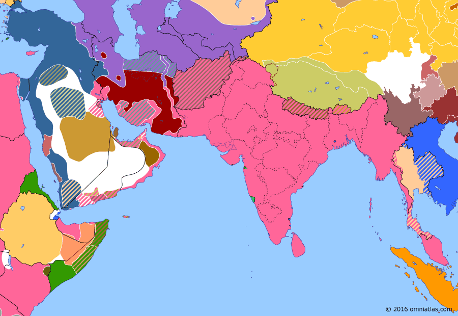 Political map of South & Southwest Asia on 09 Jul 1916 (The Great War in the Middle East: Arab Revolt), showing the following events: Ottoman Persian Offensive; Death of Yuan Shikai; Battle of Mecca; Central Asian Revolt.