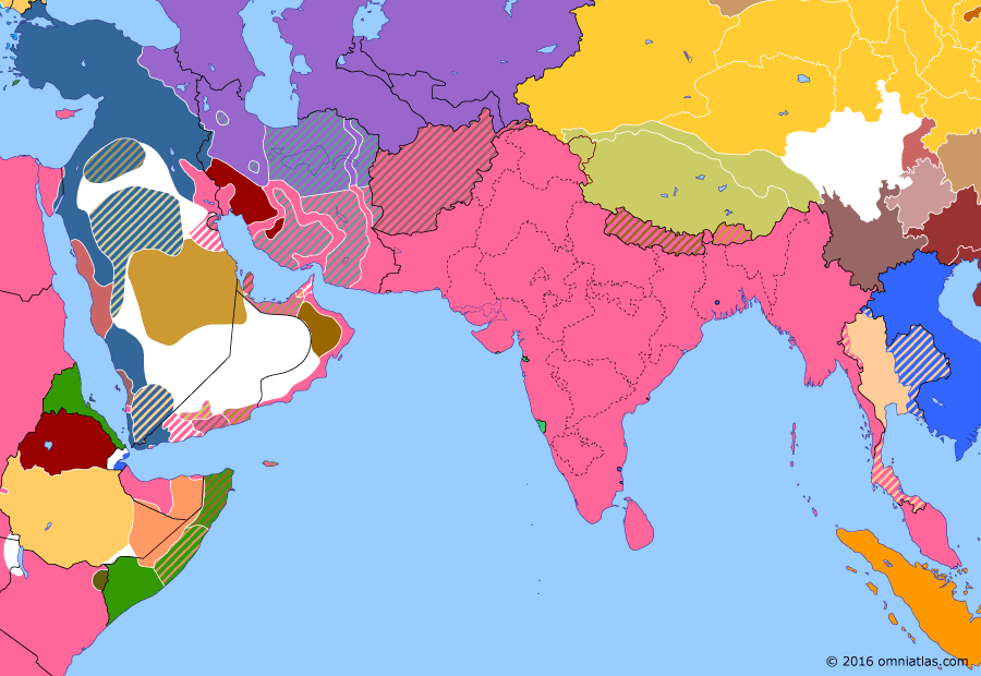 Political map of South & Southwest Asia on 11 Mar 1917 (The Great War in the Middle East: Mesopotamian Campaign), showing the following events: Second Battle of Kut; Recapture of the Sinai Peninsula; Great Persian famine; February Revolution; Fall of Baghdad.