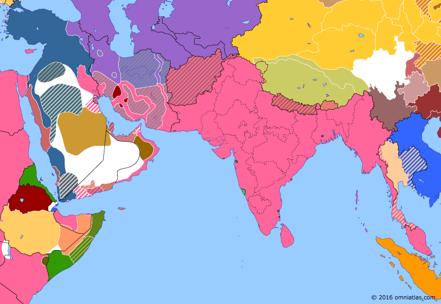 Political map of South & Southwest Asia on 06 Jul 1917 (The Great War in the Middle East: Sinai Campaign and Battle of Aqaba), showing the following events: US declaration of war on Germany; Stalemate in Southern Palestine; Greeks enter World War I; Battle of Aqaba.