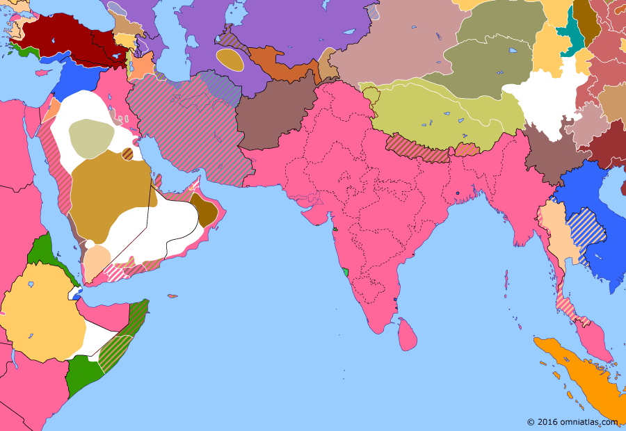 Political map of South & Southwest Asia on 10 Aug 1920 (Anglo-French Overreach: Treaty of Sèvres), showing the following events: Treaty of Sèvres; Wilsonian Armenia.