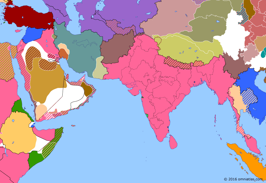 Political map of South & Southwest Asia on 02 Dec 1922 (Anglo-French Overreach: Uqair Protocol), showing the following events: Capture of Smyrna; Armistice of Mudanya; Abolition of the Ottoman Sultanate; Uqair Protocol.