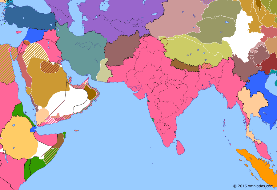 Political map of South & Southwest Asia on 24 Aug 1925 (Rising Nationalism: Great Syrian Revolt), showing the following events: Accession of Turkmen Soviet Socialist Republic; Accession of Uzbek Soviet Socialist Republic; Great Syrian Revolt; Anglo-Siam Agreement.
