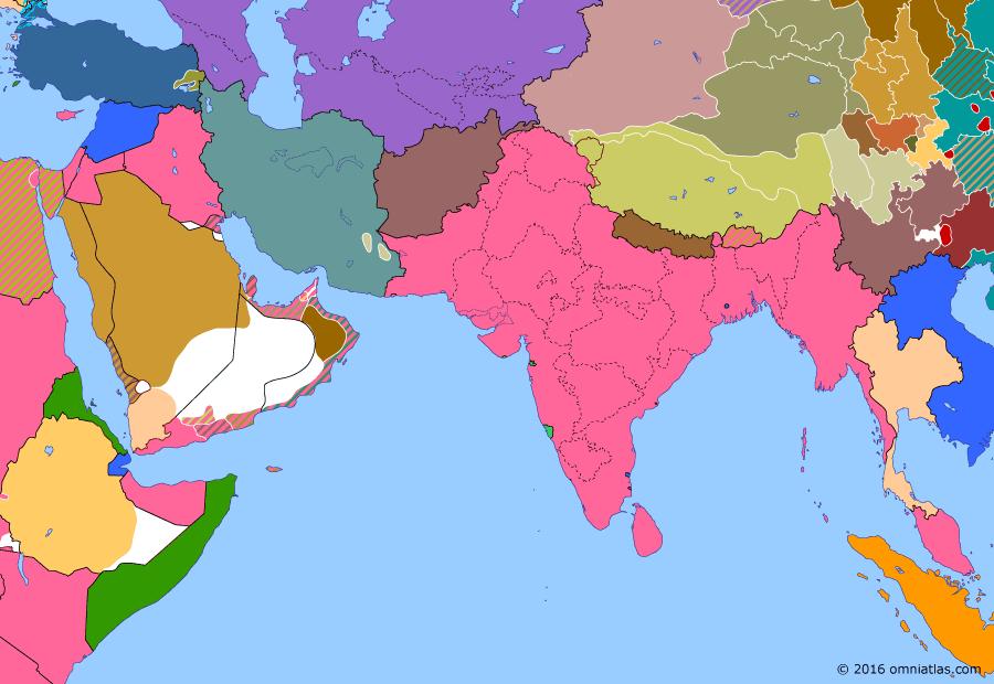 Political map of South & Southwest Asia on 27 Apr 1930 (Rising Nationalism: Salt March), showing the following events: Wall Street Crash; Tajik Socialist Soviet Republic; Purna Swaraj; Salt March; Qissa Khwani Bazaar massacre.