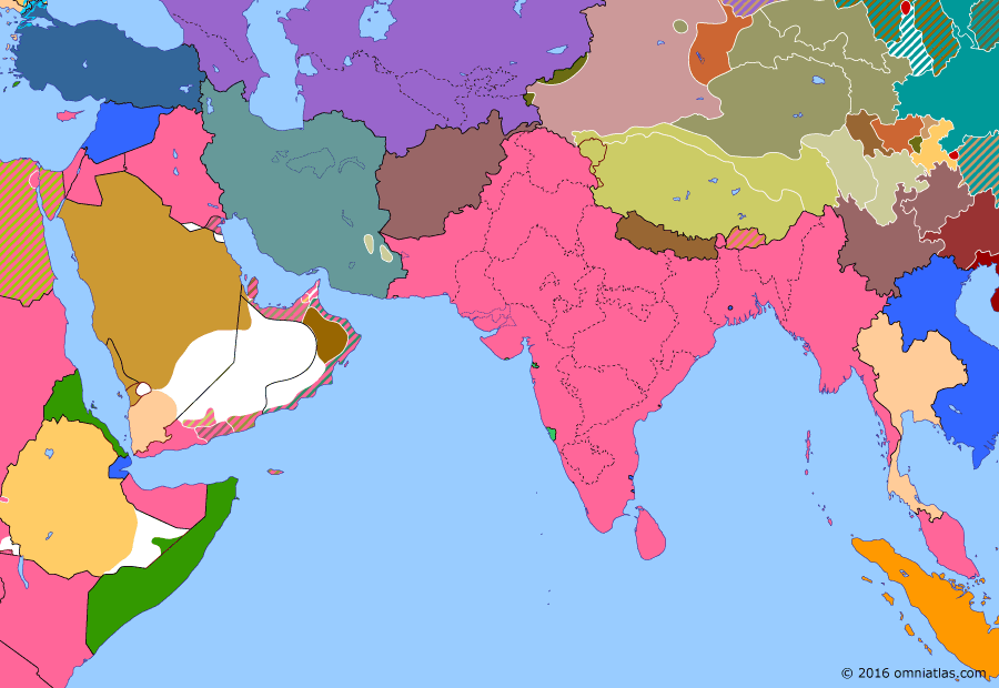 Political map of South & Southwest Asia on 22 Sep 1932 (Rising Nationalism: Formation of Saudi Arabia), showing the following events: Outbreak of Kumul Rebellion; First Ma intervention in Xinjiang; Japanese invasion of Manchuria; Kirghiz Rebellion; Establishment of Saudi Arabia.