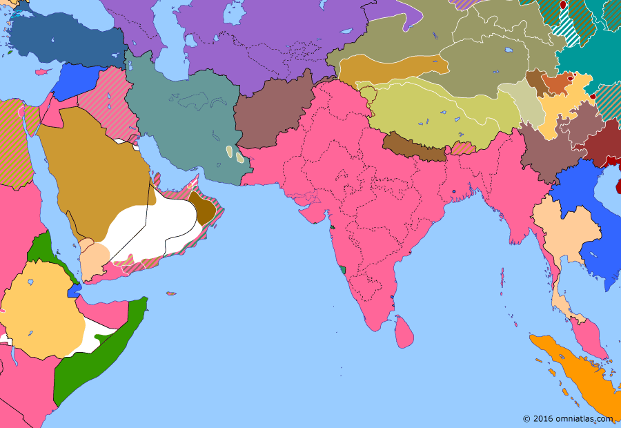 Political map of South & Southwest Asia on 16 Mar 1934 (Arrival of the New Order: Soviet invasion of Xinjiang), showing the following events: Soviet invasion of Xinjiang; Fall of the First East Turkestan Republic; Treaty of Sanaa.