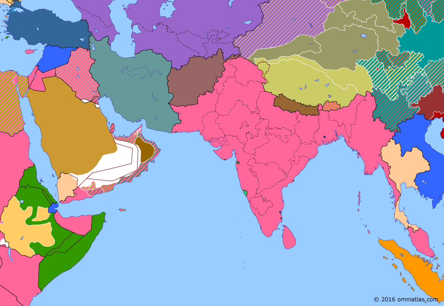 Political map of South & Southwest Asia on 05 May 1936 (Arrival of the New Order: Second Italo-Ethiopian War), showing the following events: Persia becomes Iran; Hamza Line; Government of India Act; Outbreak of Second Italo-Ethiopian War; Provincehood of Bihar, Orissa & Sind; March of the Iron Will.