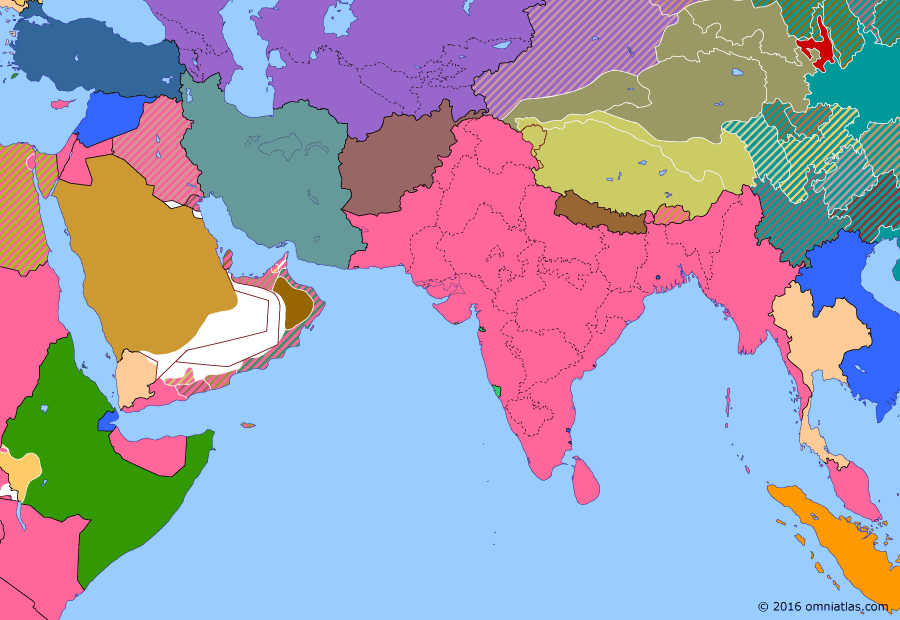 Political map of South & Southwest Asia on 05 Dec 1936 (Arrival of the New Order: Stalin Constitution), showing the following events: Italian annexation of Ethiopia; Montreux Convention; Dissolution of Transcaucasian SFSR; Adoption of Stalin Constitution; Kirghiz Soviet Socialist Republic; Kazakh Soviet Socialist Republic.