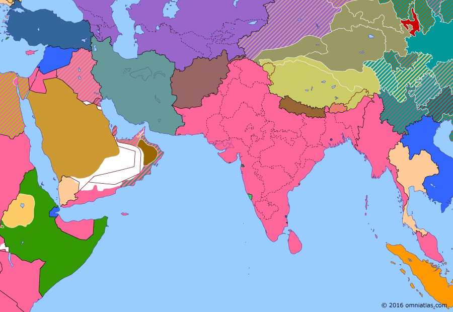 Political map of South & Southwest Asia on 01 Apr 1937 (Arrival of the New Order: Government of India Act), showing the following events: Indian provincial elections; Ingrams' Peace; Dersim massacre; Colony of Aden; Colony of Burma.