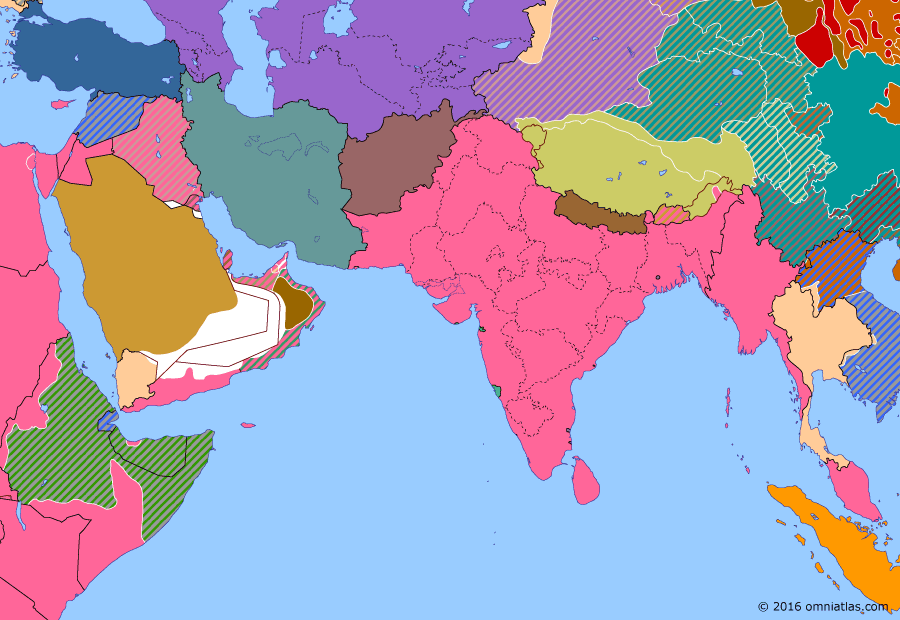Political map of South & Southwest Asia on 16 Mar 1941 (World War II: The Middle Eastern Theater: East African Campaign), showing the following events: British conquest of Eritrea; British invasion of Ethiopia; Operation Canvas; Franco-Thai armistice; Operation Appearance.