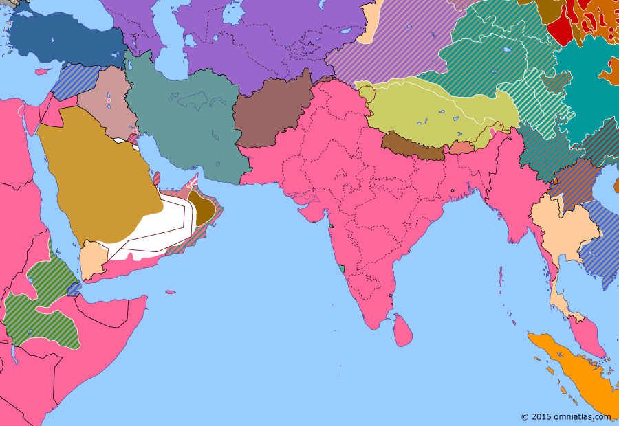 Political map of South & Southwest Asia on 06 Apr 1941 (World War II: The Middle Eastern Theater: Liquidation of Italian East Africa), showing the following events: Iraqi coup d'état; Surrender of Addis Ababa; Battle of Greece.