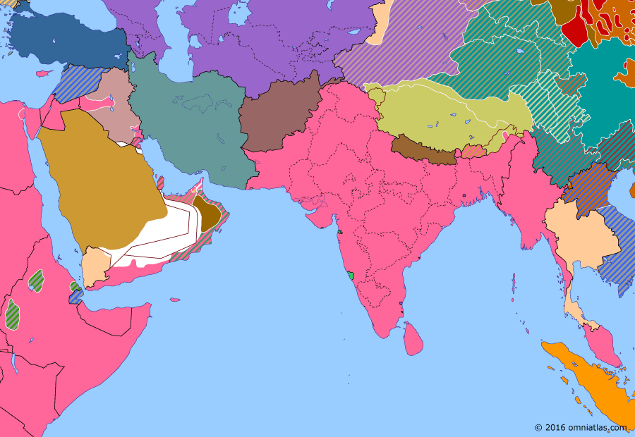 Political map of South & Southwest Asia on 22 May 1941 (World War II: The Middle Eastern Theater: Anglo–Iraqi War), showing the following events: Anglo-Iraqi War; Tokyo Peace Treaty; Battle of Crete.
