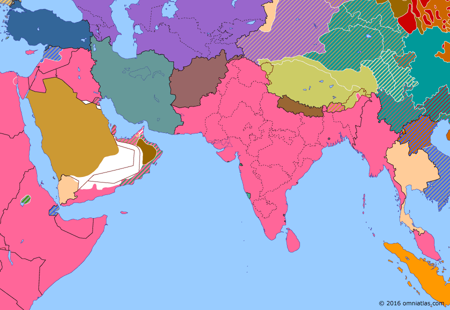 Political map of South & Southwest Asia on 08 Jul 1941 (World War II: The Middle Eastern Theater: Syria-Lebanon Campaign), showing the following events: Operation Exporter; Operation Barbarossa.