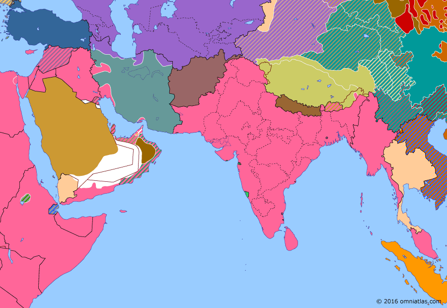 "Political map of South & Southwest Asia on 29 Aug 1941 (World War II: The Middle Eastern Theater: Anglo-Soviet invasion of Iran), showing the following events: Operation ""FU""; Freezing of Japanese assets; Anglo-Soviet invasion of Iran."