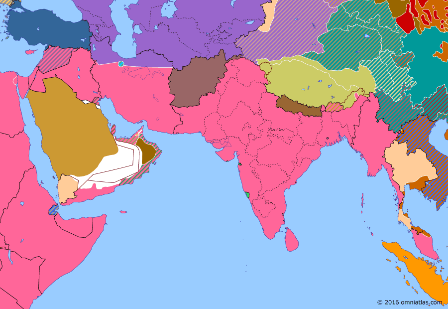 Political map of South & Southwest Asia on 10 Dec 1941 (World War II: The South-East Asian Theater: Japanese invasion of Thailand and Malaya), showing the following events: Opening of the Persian Corridor; Battle of Gondar; Attack on Pearl Harbor; Japanese invasion of Thailand; Japanese invasion of Malaya; Sinking of Prince of Wales and Repulse.