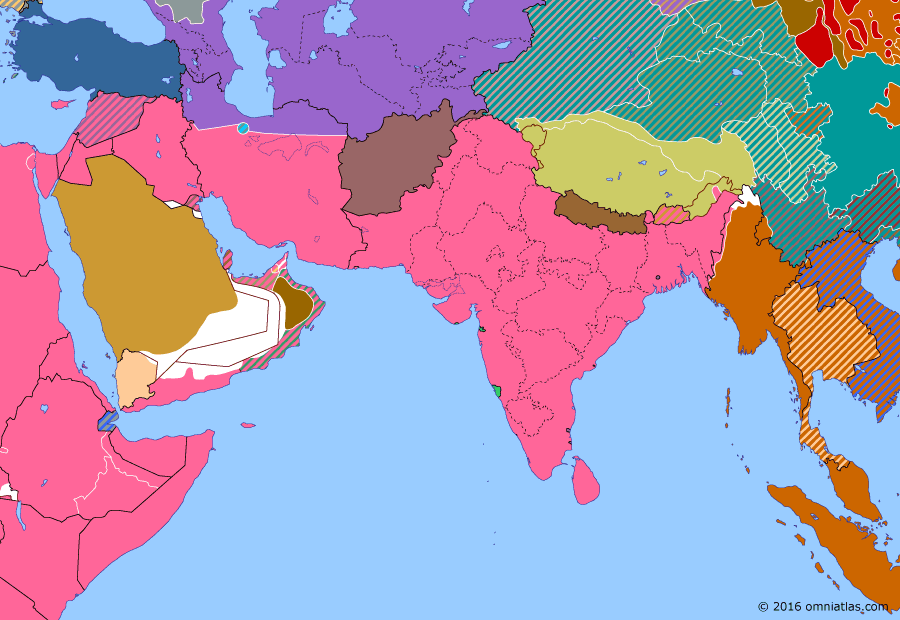 Political map of South & Southwest Asia on 06 Oct 1942 (World War II: The South-East Asian Theater: Quit India Movement), showing the following events: Fall of Burma; Battle of Madagascar; Battle of Midway; Case Blue; Quit India Movement; End of Soviet influence in Xinjiang.