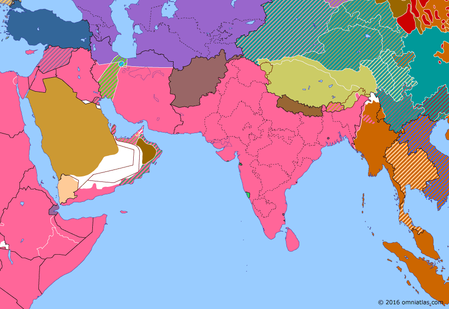 Political map of South & Southwest Asia on 25 Mar 1943 (World War II: The South-East Asian Theater: Arakan, Chindits, and Bengal Famine), showing the following events: Second Battle of El Alamein; First Arakan Campaign; US operation of Persian Corridor; Surrender of the Sixth Army; Operation Longcloth; Bengal Famine.