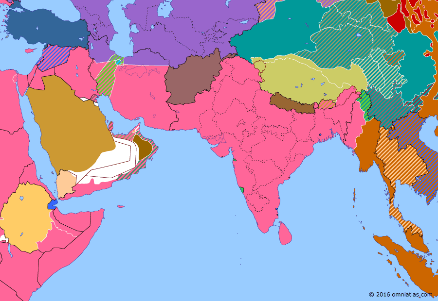 Political map of South & Southwest Asia on 20 Feb 1945 (World War II: The South-East Asian Theater: Operation Extended Capital), showing the following events: Operation Ichi-Go; D-Day; Second East Turkestan Republic; Operation Extended Capital; 1944 Anglo–Ethiopian Agreement.