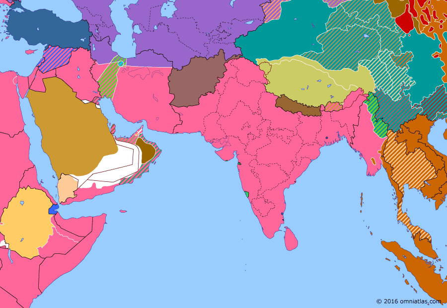 Political map of South & Southwest Asia 2 August 1945 (Reconquest of Burma): In March and April 1945 the British advanced south into Japanese-occupied Burma (Burma Campaign 1944-1945), capturing Rangoon in an amphibious assault in early May (Operation Dracula) and splitting the Japanese forces in two. In July the Japanese made a last desperate bid to break through British lines and reconnect their armies but were defeated (Battle of the Sittang Bend), effectively bringing an end to the fighting in Burma.