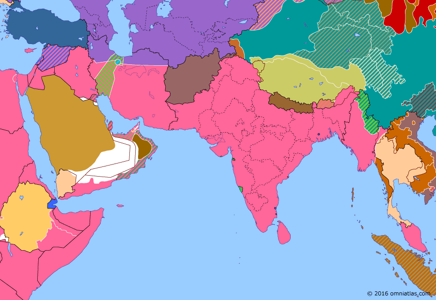 Political map of South & Southwest Asia on 12 Sep 1945 (World War II: The South-East Asian Theater: Japanese Surrender in South-East Asia), showing the following events: Atomic bombing of Hiroshima; Jewel Voice Broadcast; Revocation of Thai war declaration; Indonesian Independence; August Revolution; Operation Tiderace; Operation Masterdom.