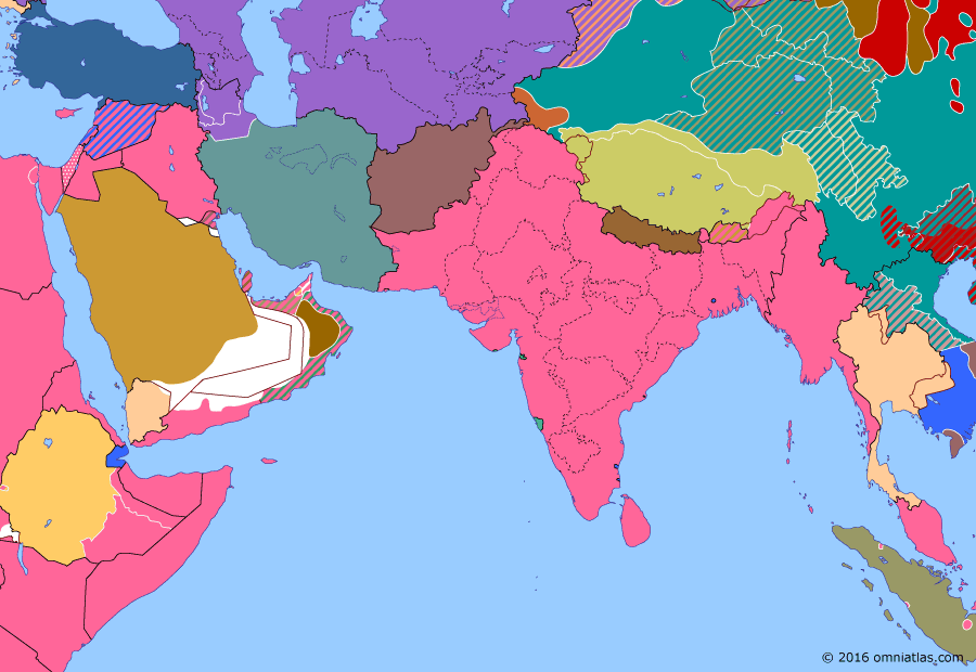 Political map of South & Southwest Asia on 02 Mar 1946 (Independence: Iran Crisis), showing the following events: Chinese occupation of northern Indochina; Allied occupation of Indonesia; Jewish insurgency in Palestine; Azerbaijan People's Government; Allied withdrawal from Iran; Republic of Mahabad; Royal Indian Navy mutiny.