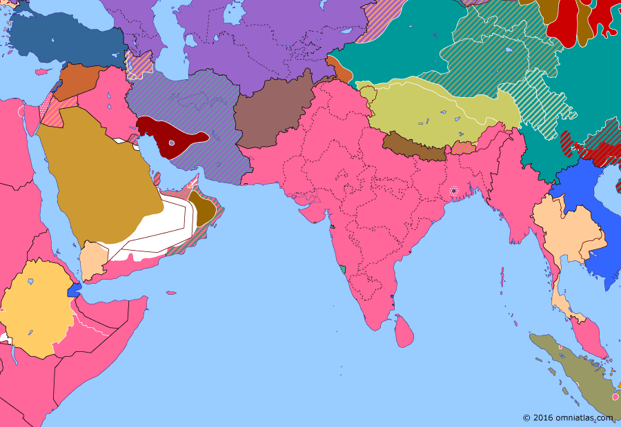 Political map of South & Southwest Asia on 28 Sep 1946 (Independence: Independence in the Middle East), showing the following events: Cabinet Mission to India; Syrian Independence; Soviet-Iranian Oil Agreement; Independence of Transjordan; Chinese Civil War reopens; Fontainebleau Agreements; Direct Action Day; Anti-communist revolt in Iran.