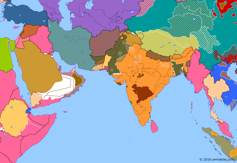 Political map of South & Southwest Asia on 15 Aug 1947 (Independence: Partition of India), showing the following events: Reoccupation of Iranian Azerbaijan; Outbreak of First Indochina War; Mountbatten Plan; Operation Product; Partition of Bengal; Creation of Pakistan; Indian Independence; Accession of Junagadh.