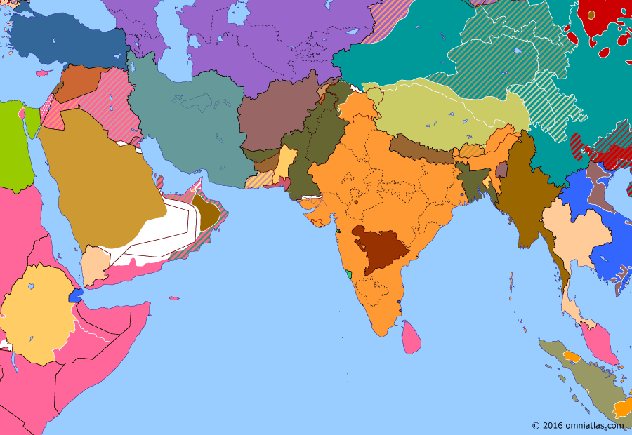 Political map of South & Southwest Asia 4 January 1948 (Independence of Burma): The British departure from India in 1947 made their remaining colonies in South Asia redundant. Burma - which had been making  increasing demands for independence since their occupation by Japan in World War II - became an independent republic in early 1948 (Independence Day (Myanmar)), followed shortly by Ceylon.
