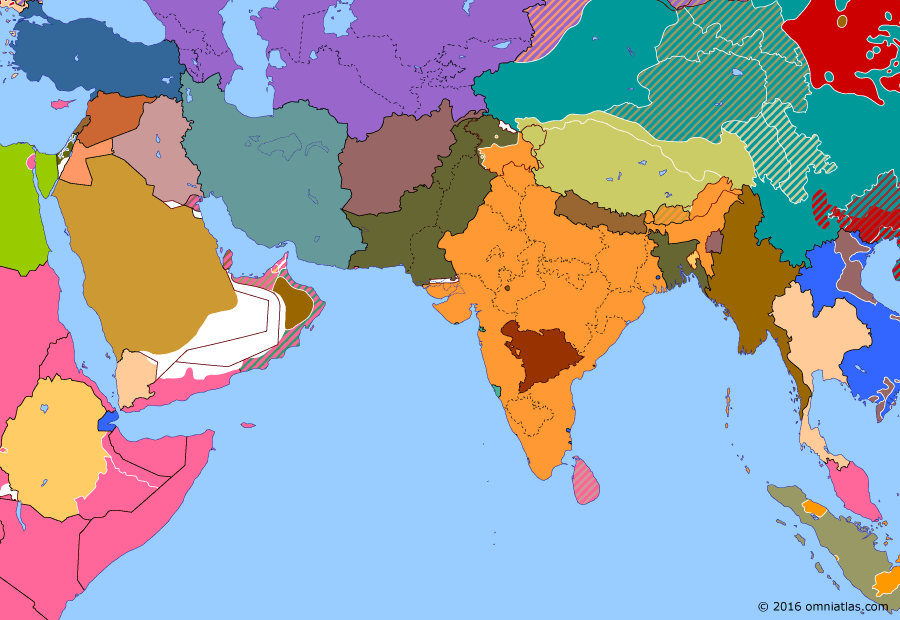 Political map of South & Southwest Asia 15 May 1948 (End of Mandatory Palestine): The British Mandate of Palestine had become increasingly unstable since the 1930s, facing first Arab (1936-39 Arab revolt in Palestine) and then Jewish insurgencies (Jewish insurgency in Mandatory Palestine) against British rule. In 1947 the United Nations suggested the partition of Palestine into separate independent Arab and Jewish states (United Nations Partition Plan for Palestine), prompting a civil war to break out between the Arabs and the Jews (1947-48 Civil War in Mandatory Palestine). The Jews were victorious by the following year, declaring an independent State of Israel (Israeli Declaration of Independence) to coincide with the British withdrawal.