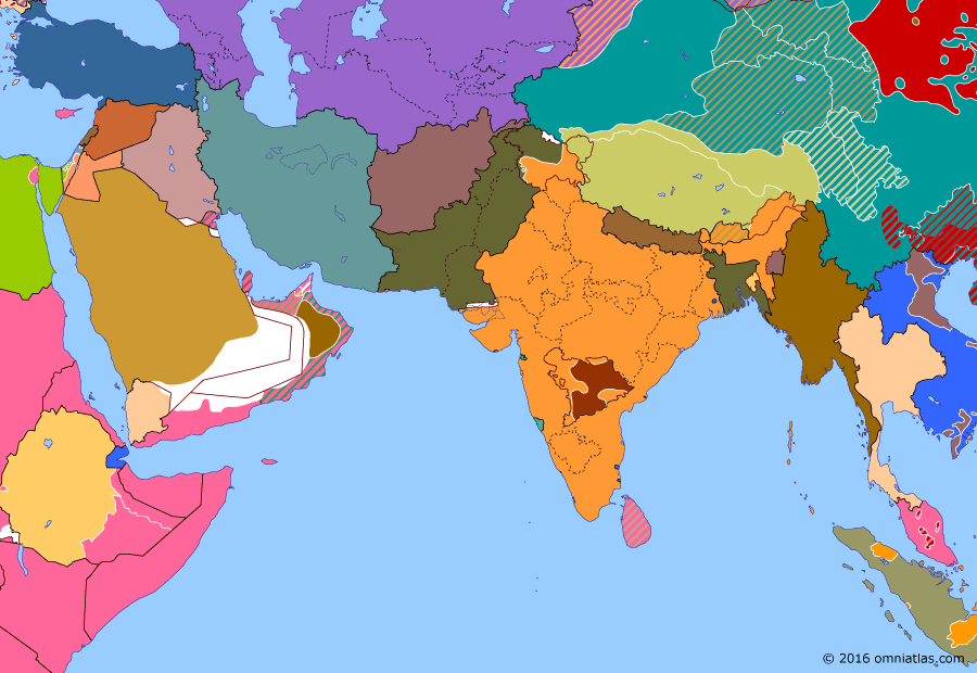 Political map of South & Southwest Asia on 17 Sep 1948 (Independence: Indian conquest of Hyderabad), showing the following events: Indian offensives in Kashmir; Malayan Emergency; Operation Polo.
