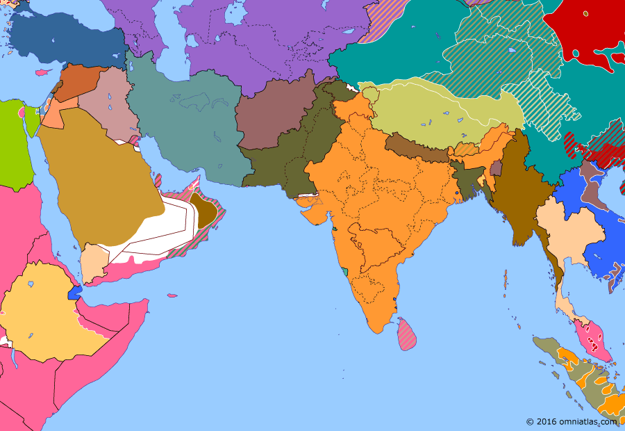 Political map of South & Southwest Asia on 06 Jan 1949 (Independence: First Arab-Israeli War), showing the following events: Restoration of the Ogaden; October offensives; Operation Kraai; Ceasefire in Kashmir.